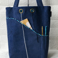 Knitters project bag, blue velour