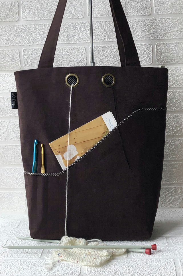 Knitters project bag, chocolate brown