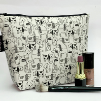 Handmade cotton makeup bag, black and white dogs