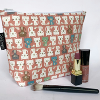 Handmade cotton makeup bag, orange cats