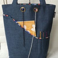 Knitting bag, project bag, tulips