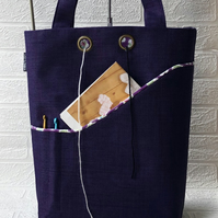 Knitting bag, project bag purple