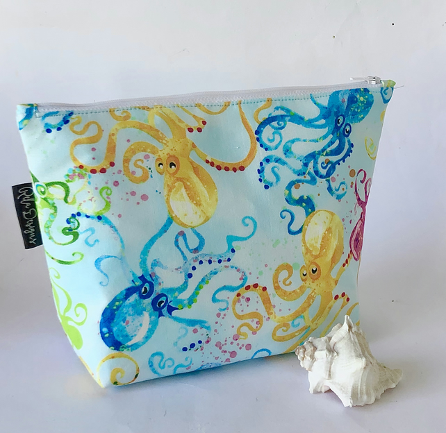 Handmade large cotton makeup bag, octopus