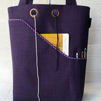 Knitting, project bag, purple spot