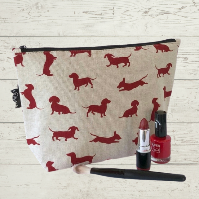 Makeup bag, cosmetic bag, toiletry bag dachshunds