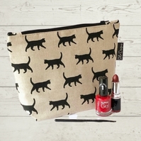 Makeup bag- Black kittens