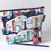 Handmade cotton makeup bag, caravans