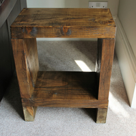 Chunky reclaimed rustic Wooden Side,End table in walnut stain