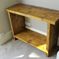 chunky rustic reclaimed solid wooden console , hall table in oak stain finish