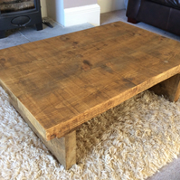 Rustic reclaimed wooden coffee table in oak stain