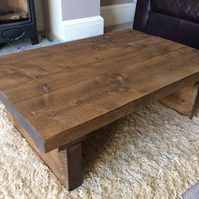 rustic chunky reclaimed wooden coffee table in walnut stain