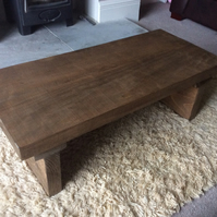 Rustic reclaimed wooden coffee table in walnut stain