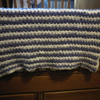 Handmade Baby Blanket - Purple and white