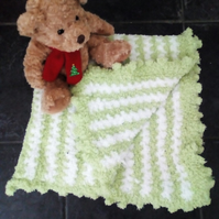 Handmade baby blanket -Green and White crochet