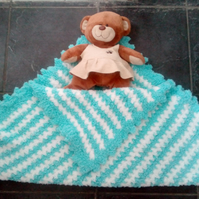 Handmade baby blanket - Blue and white striped