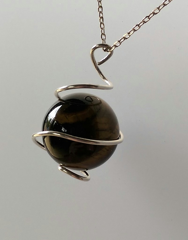 Silver Wrapped Tigers Eye