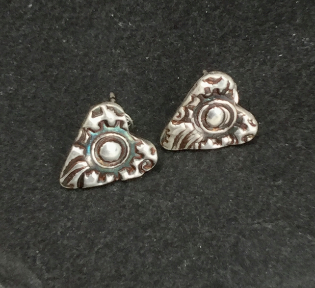 Fine silver steampunk stud heart earrings