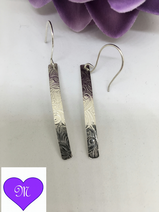 Sterling Silver patterned long drop earrings