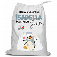 Santa Christmas Sack, Christmas Sack , Penguin, Personalised Christmas