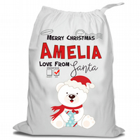 Santa Christmas Sack, Christmas Sack , Polar Bear , Personalised Christmas