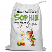 Santa Christmas Sack, Christmas Sack , Marshmallow Elf , Personalised Christmas