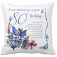 80th Birthday, Throw Pillow, Lovely Words, assorted flowers and butterflies