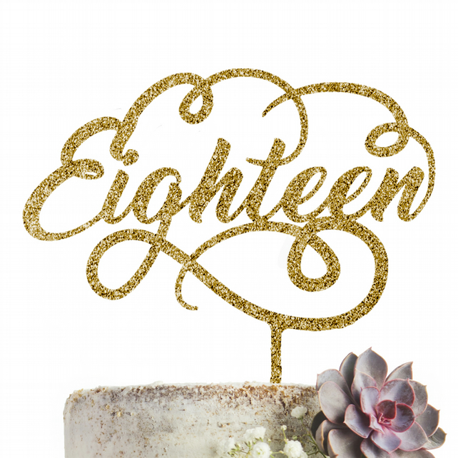 Eighteen 18 Cake Topper Glitter Gold Party Decoration