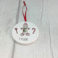 Personalised Christmas ceramic decoration. Gingerbread boy Christmas decoration.