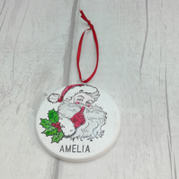 Personalised Christmas ceramic decoration. Santa Clause Christmas decoration.