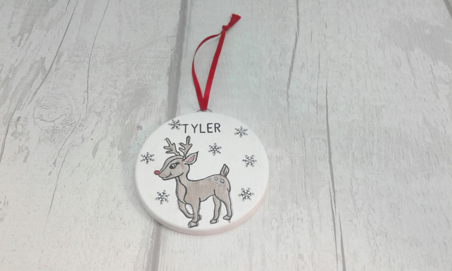 Personalised Christmas ceramic decoration. Rudolph reindeer Christmas decoration