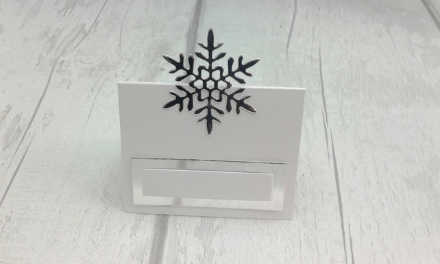 Christmas place settings. Set of 15 luxury snowflake Christmas place cards.