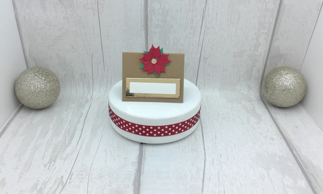 Christmas place settings. Set of 10 luxury Christmas place cards. Pointsettias.