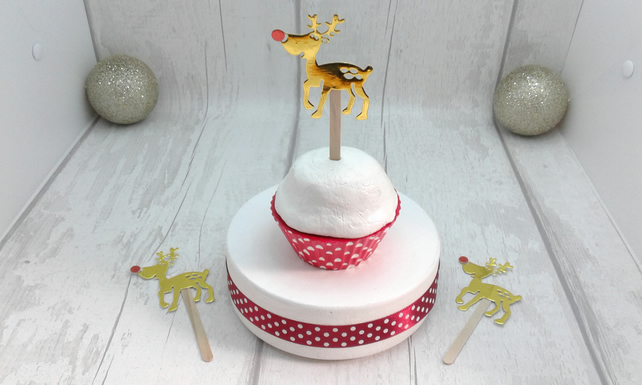 Christmas cupcake toppers & decorations. 24 festive food decorations.