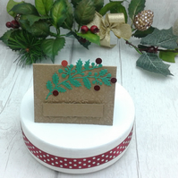 Christmas place settings. Set of 15 luxury Christmas place cards. Holly.