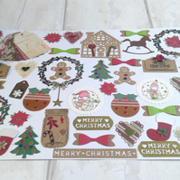 Christmas set of 200 papercrafting toppers. Cardmaking. Scrapbooking. Tags etc.