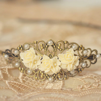 Antique Bronze Filigree Head Band Flower Wedding Bridal wedding