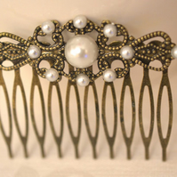 Vintage Style Hair Comb Filigree Bronze Pearl Hair Comb Wedding