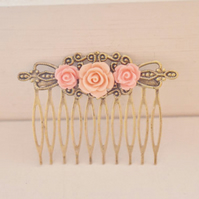Bridal Hair Comb Vintage Antique Style Filigree Bronze Comb Rose And Pearl Hair