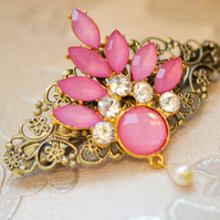 Hair Barrette Hot Pink Vintage Hair Barrette Victorian Style Filigree Pearl Hair