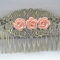 Vintage Victorian Antique STyle Filigree Rose Flower Hair Comb fascinator