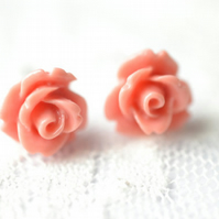 Cute Small Vintage Retro Resin Pink Rose Stud Earring Bohemian Summer