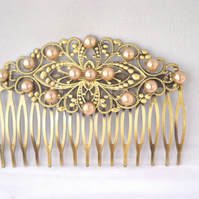 Vintage Style Antique Bronze Filigree Hair Comb  Wedding Bridal wedding