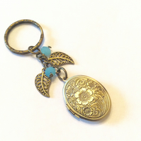 Bronze photo locket key ring leafs beads
