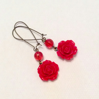 Pretty Red Resin Flower Beaded Earring Romatic jewellery