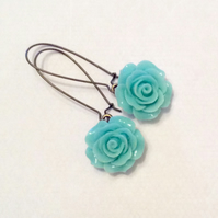 Beautiful Blue Rose Dangle Earring Bridesmaid Wedding Gift flowers