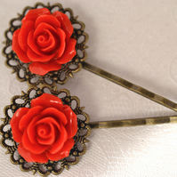Vintage style Bronze Hair clip Red Rose Flower Wedding Bridal Bohemian