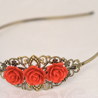 Antique Bronze Filigree Head Band Flower Wedding Bridal wedding Boho