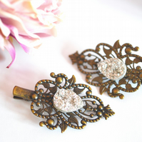 Vintage style Bronze Crocodile Hair clip Faux Druzy Wedding Bridal Bohemian Boho