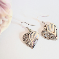 Silver Marcasite Heart Earring Mother gift Bohemian Wedding Vintage