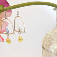 Small Bird In cage Earring Statement Earring Wedding Gift Kitsch